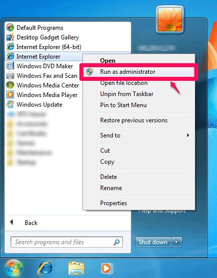 run internet explorer as administrator