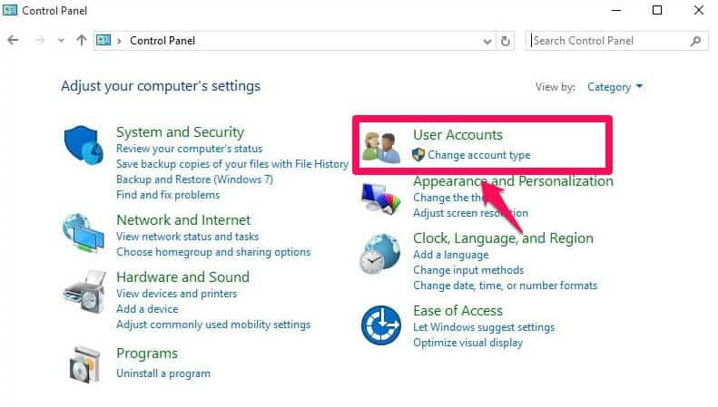 user account windows 10