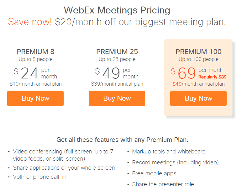 webex meetings pricing