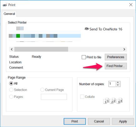 find printer windows 10