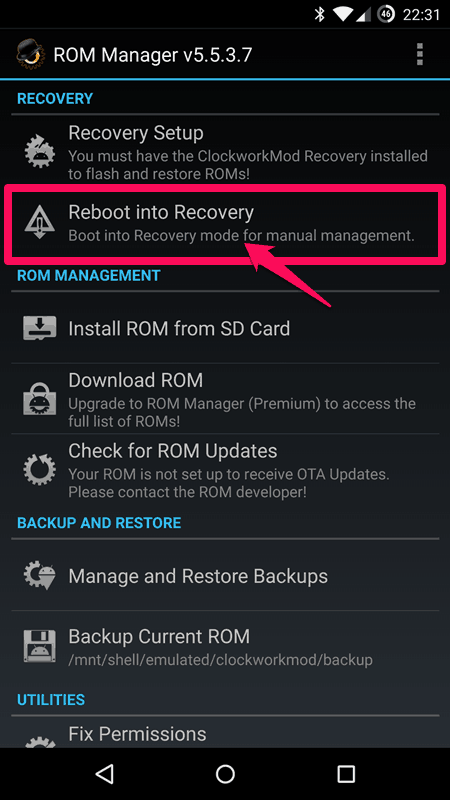 reboot into recovery