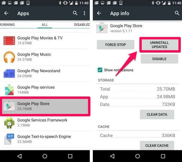 uninstall google play store updates