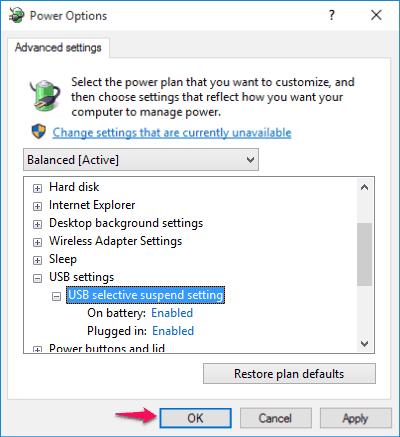 usb selective suspend windows 10