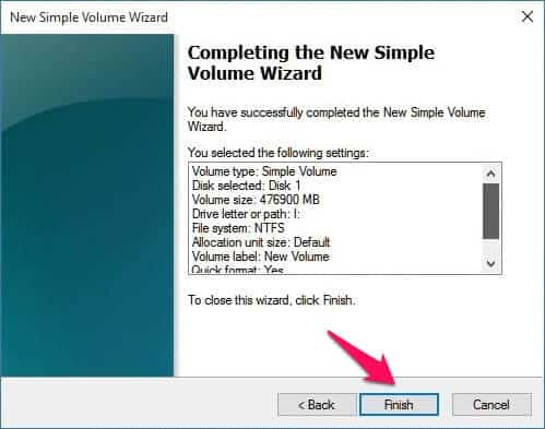 completing-the new simple voulme wizard