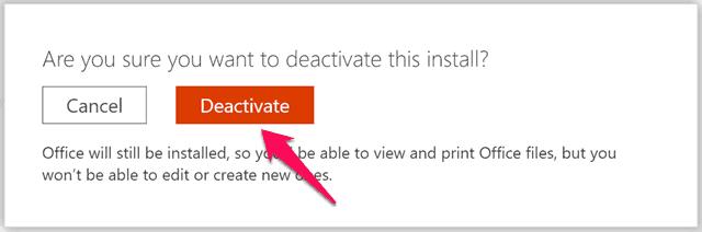 deactivate office 365