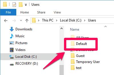 default.old folder windows 10