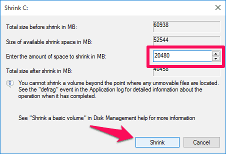 Enter the amount of space to shrink in MB
