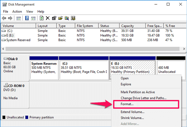 format hard disk partition