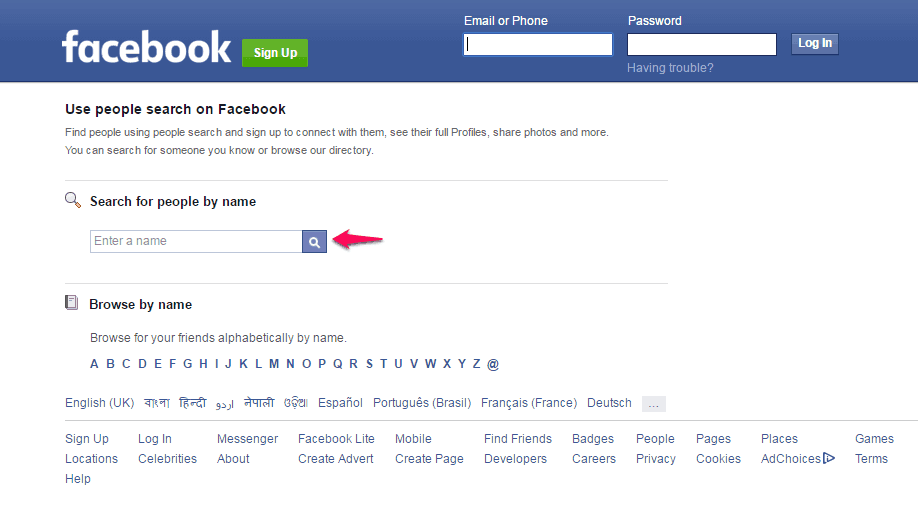 How to Facebook Search for People without Logging In