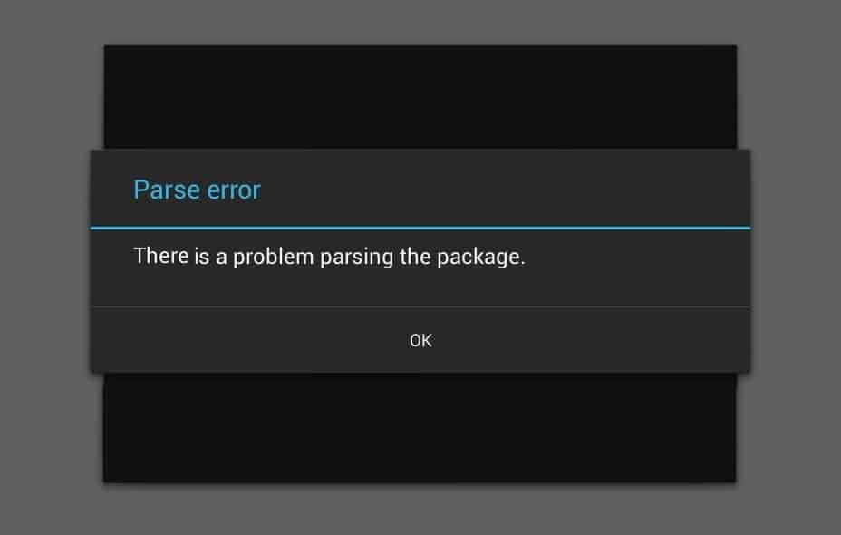 there is a problem parsing the package