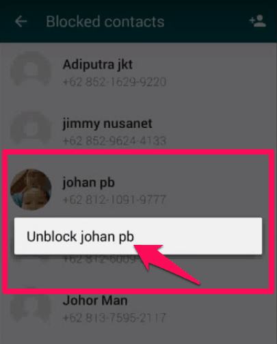 unblock whatsapp contact