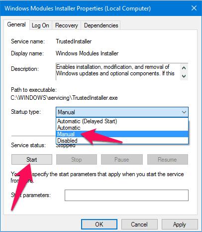 windows modules installer start