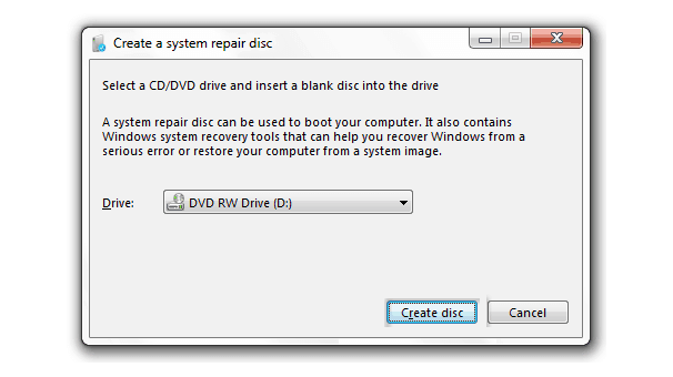 create a system repair disc windows 7