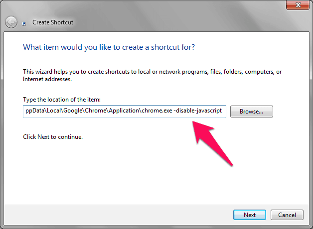 create shortcut icon disable javascript