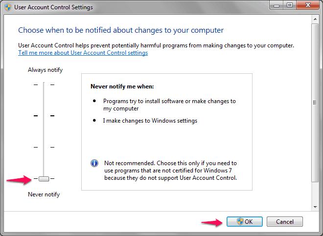 user account control Windows 7