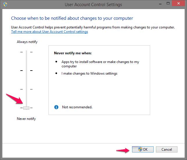 user account control Windows 8