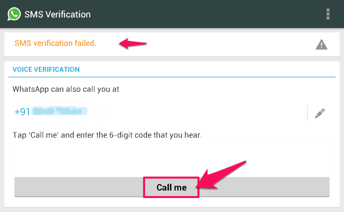 whatsapp sms verification failed