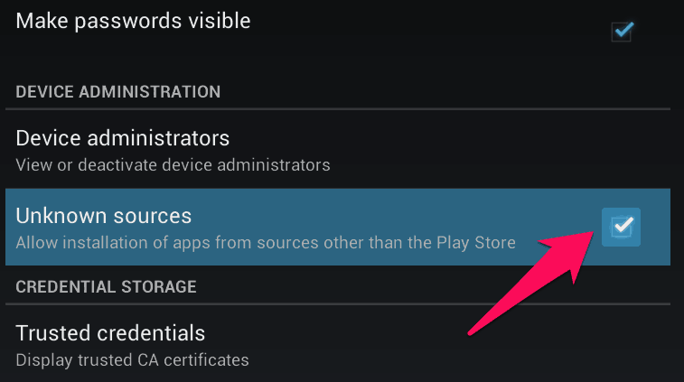 allow installation of apps from unknown sources android