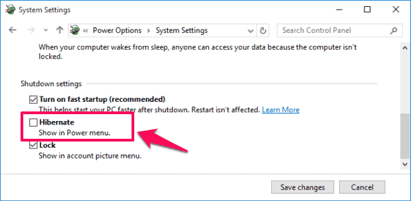 disable hibernate windows 10