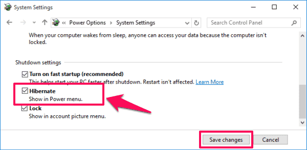 enable hibernation windows 10
