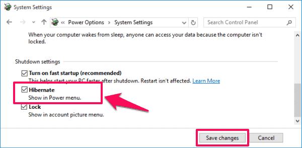 enable hibernation windows 10