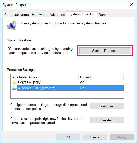 restore computer to earlier date