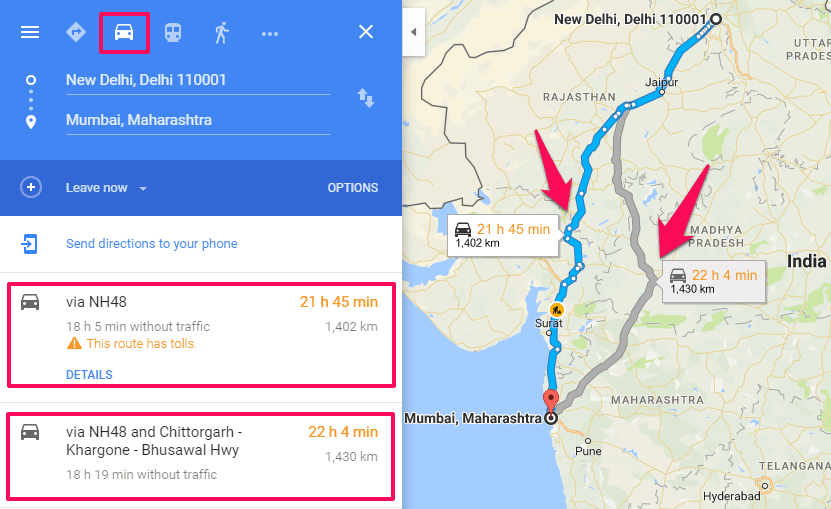 How To Get Directions From One Place To Another On Google Maps - Route map and distance calculator
