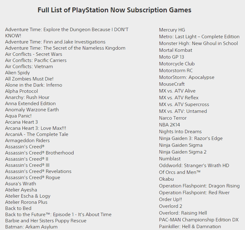 playstation now games list