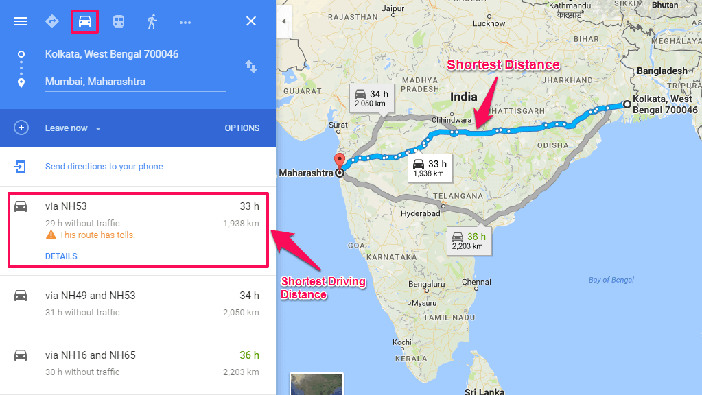 shortest driving distance from one place to another