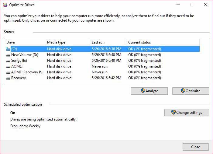 windows disk defragmenter