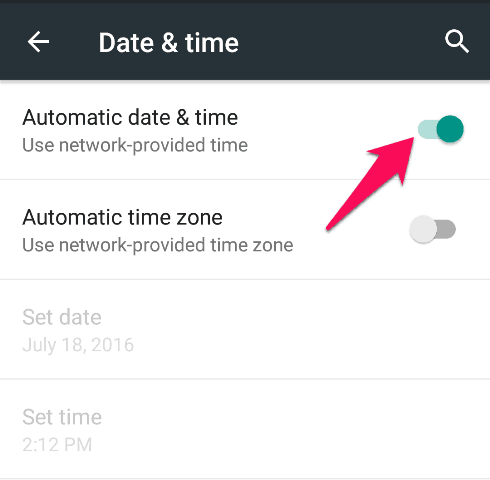 automatic date and time android