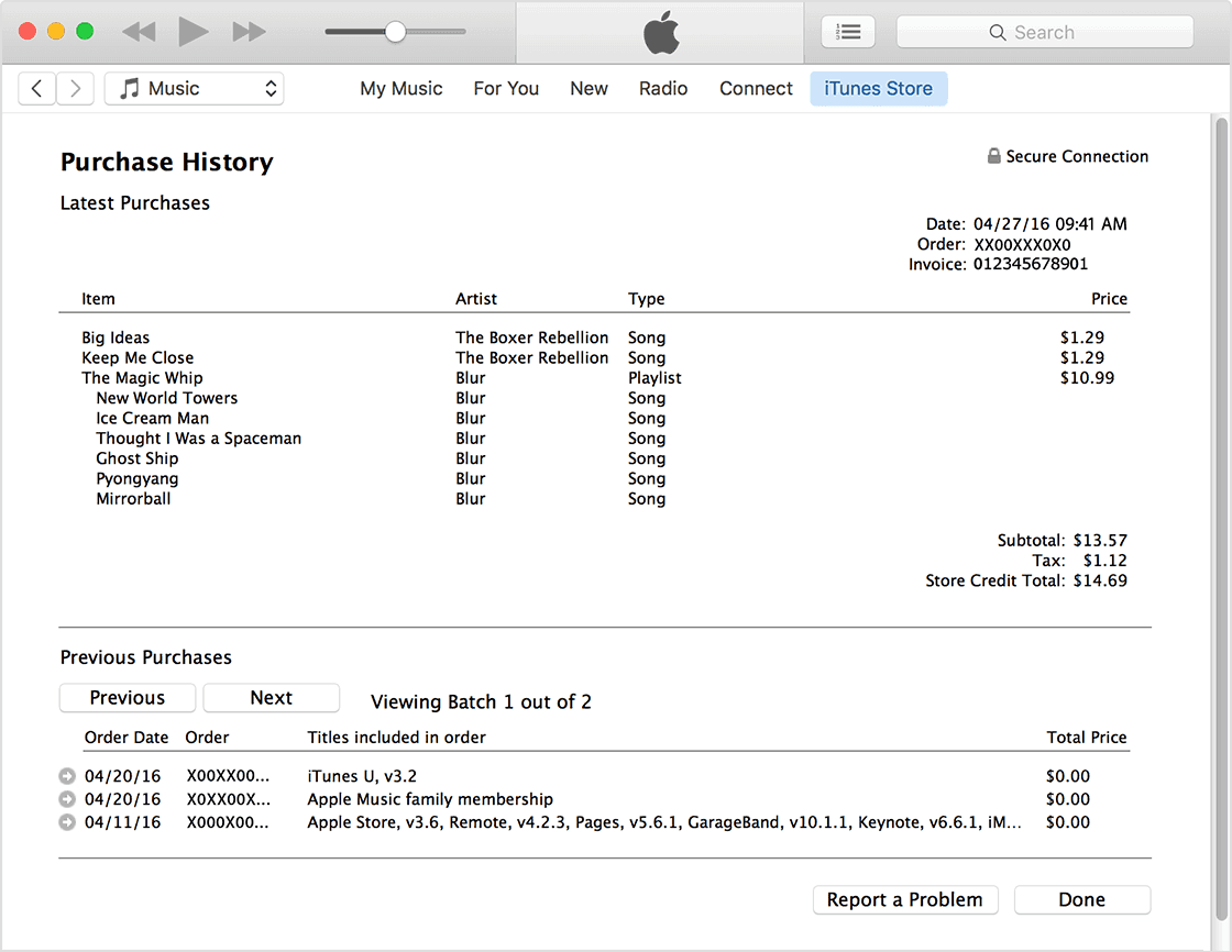 check itunes purchase history