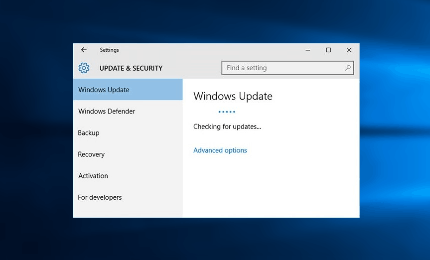 checking for updates stuck
