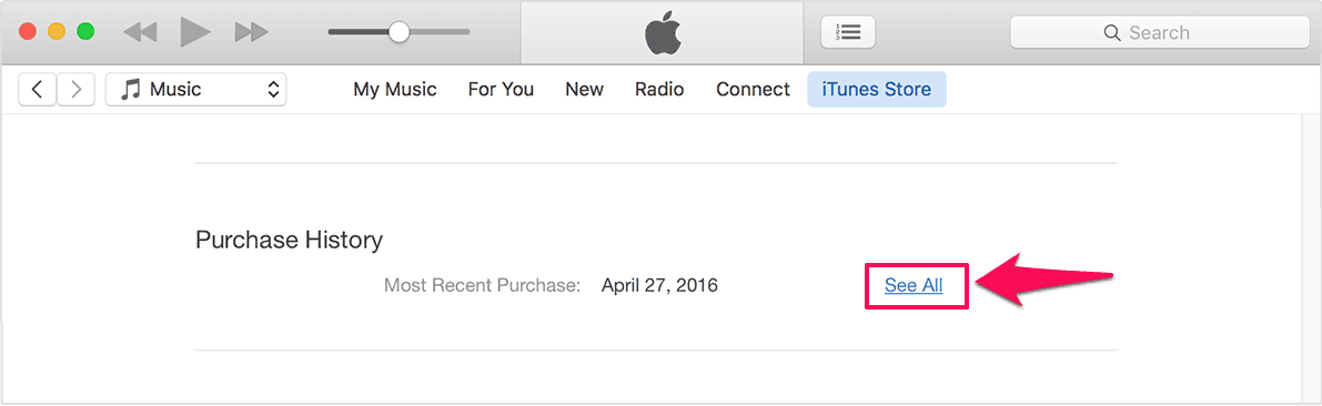 purchase history itunes