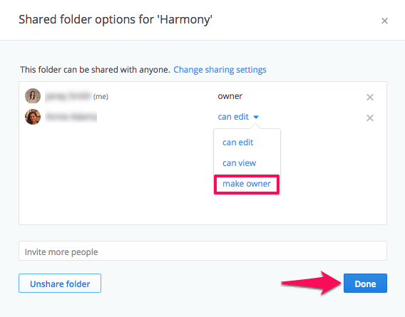 transfer ownership of a shared folder dropbox