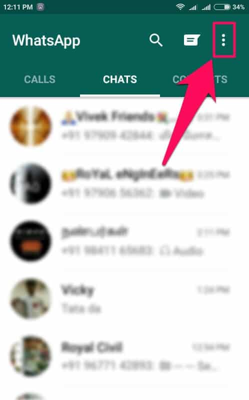 whatsapp 3 dots