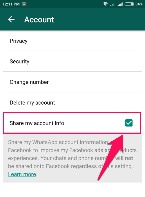 whatsapp share my account info android