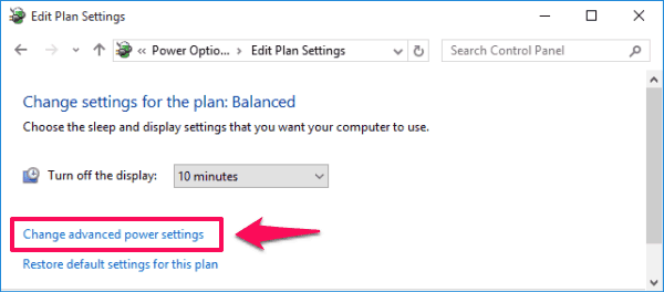 change advanced power settings Windows 10