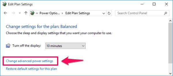 change advanced power settings Windows 10