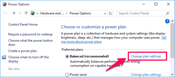 change plan settings windows 10
