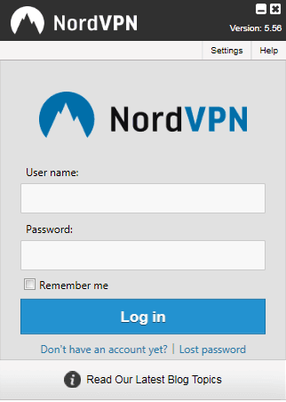 nordvpn username password