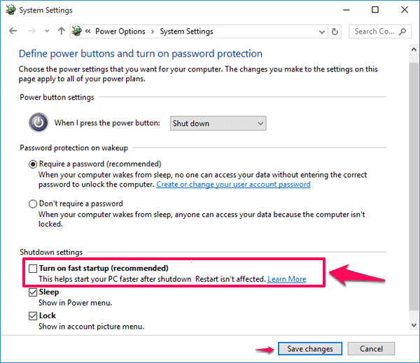 turn on fast startup Windows 10
