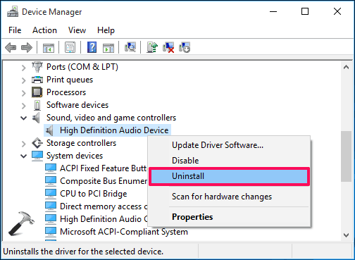 uninstall realtek high definition audio driver windows 10