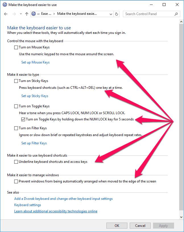change keyboard settings in windows 10