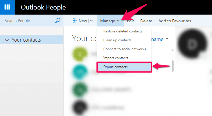 how to delete contacts from outlook account