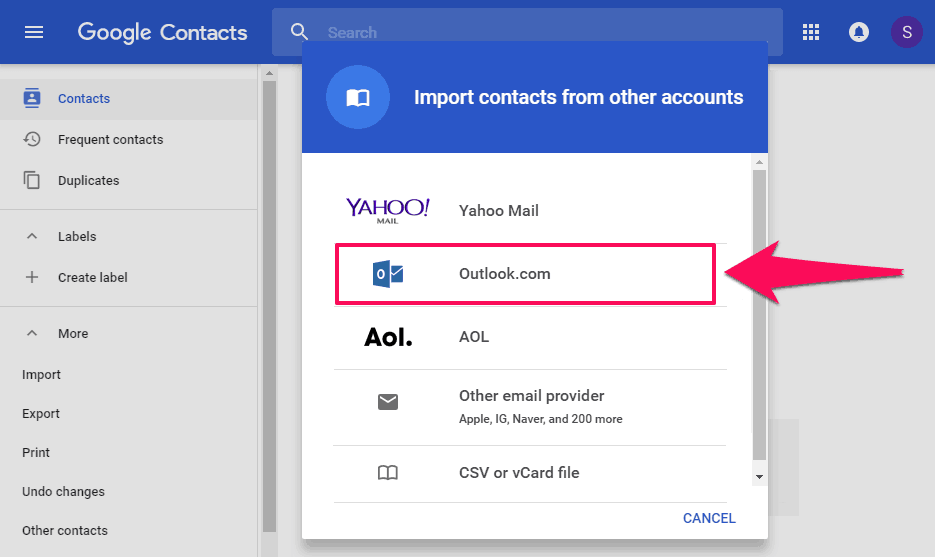 how to import outlook contacts