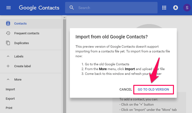 import from old google contacts