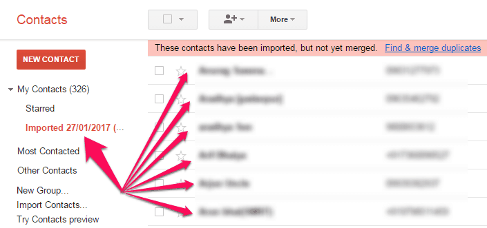 imported contacts in gmail