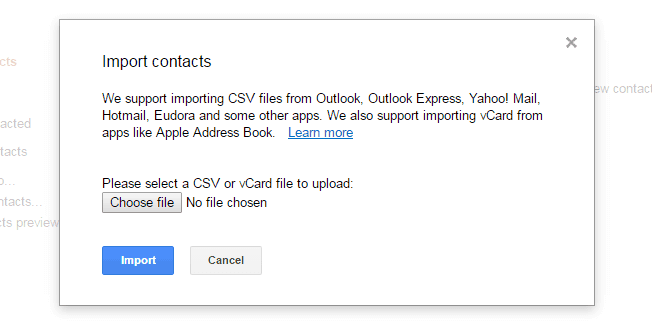 please select a csv or vcard file to upload