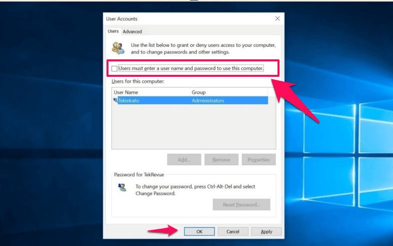 turn off auto login windows 10